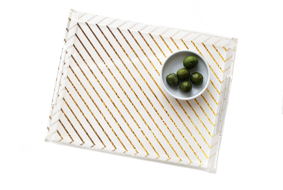 Gold Stripe Acrylic Tray | Khristian A. Howell decorative tray for living room, unique art acrylic tray, serving tray with art insert