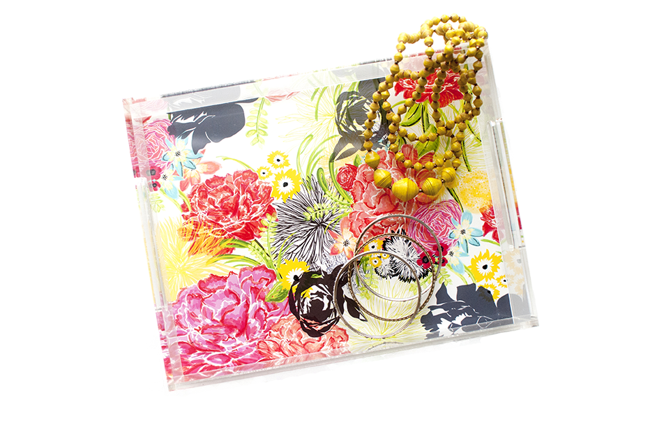 Michella Acrylic Tray | Khristian A. Howell decorative tray for living room, unique art acrylic tray, serving tray with art insert