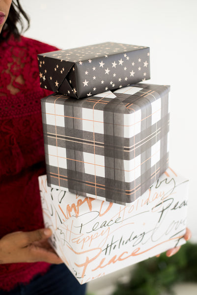 Rosy Holiday Gift Wrap Sheets