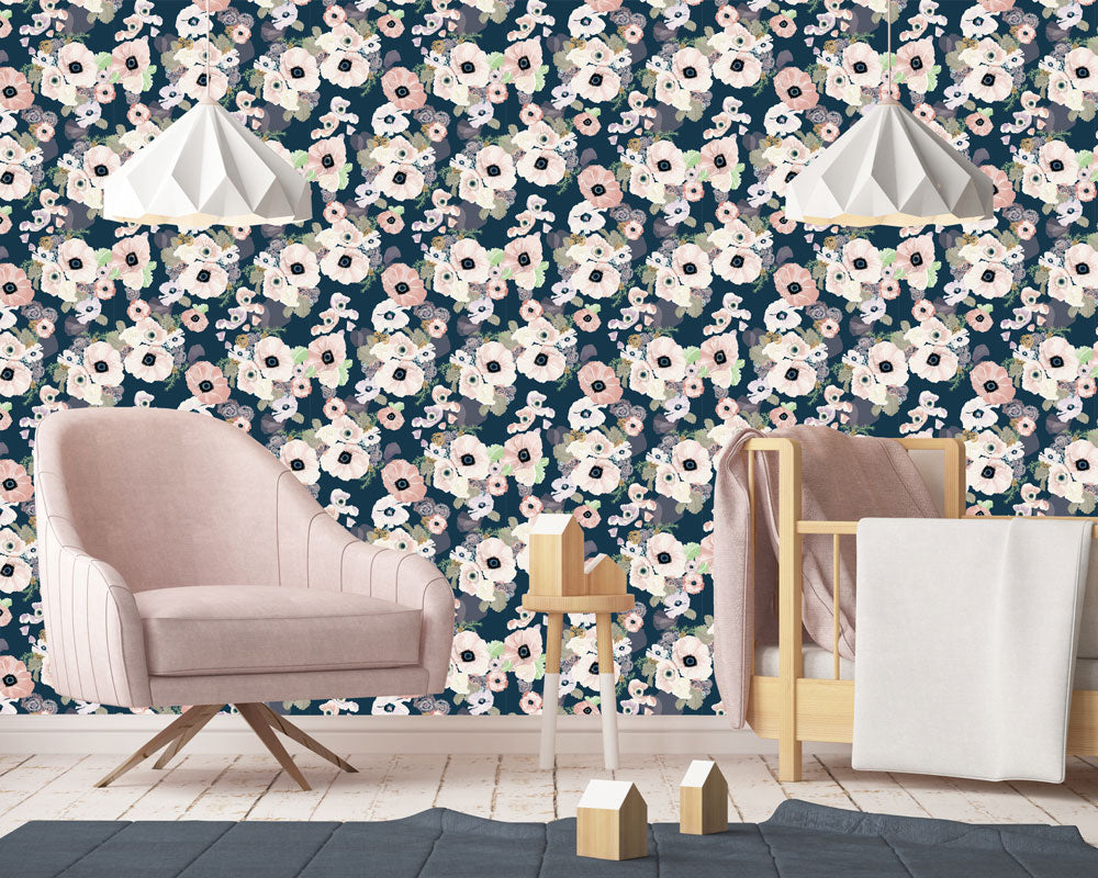 Une Femme Wallpaper | Khristian A. Howell boho bedroom decor, vintage modern style wallpaper, modern home decor online, cute pattern wallpaper
