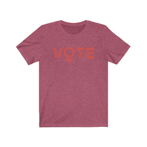VOTE tee in raspberry