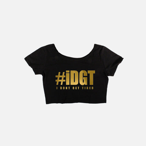 #IDGT Black/Gold Crop Top