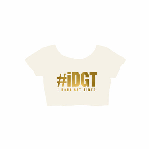 #IDGT Off White/Gold Crop Top