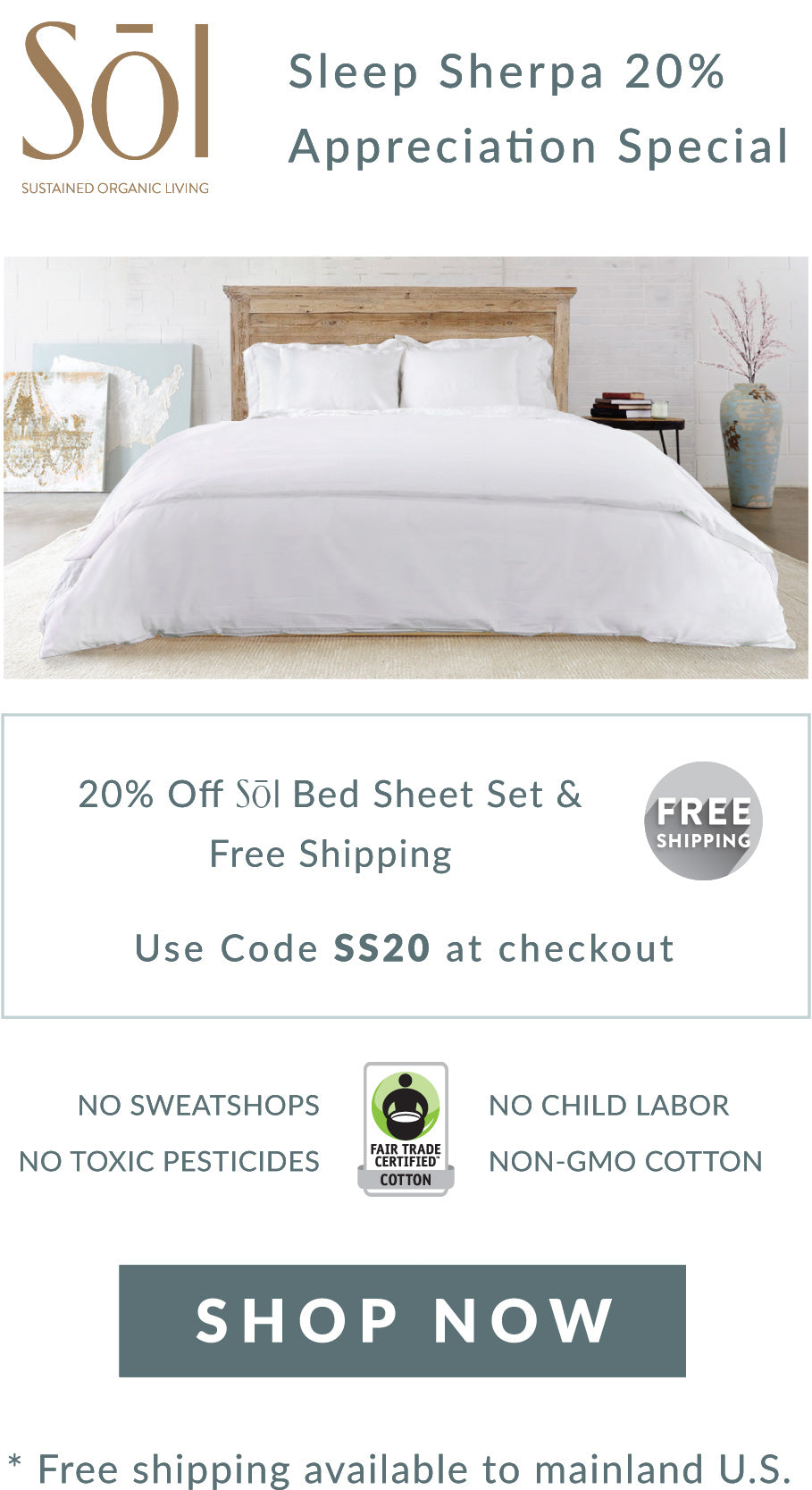 SOL Organics Certified Fair Trade Organic Cotton Bed Sheet Sets