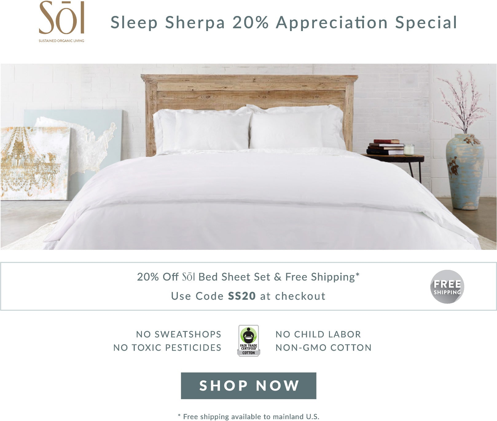 SOL Organics Certified Fair Trade Organic Cotton Bed Sheets