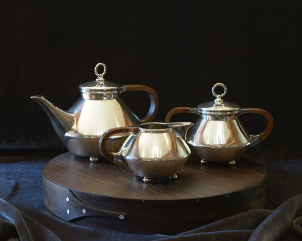 vintage tea set art deco tea pot creamer sugar bowl