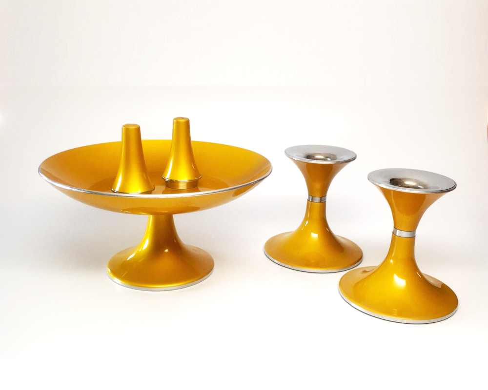 vintage table set mid century compote candlestick salt pepper