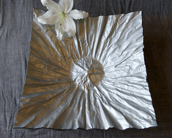 Earthenware platter large  silver metallic finish