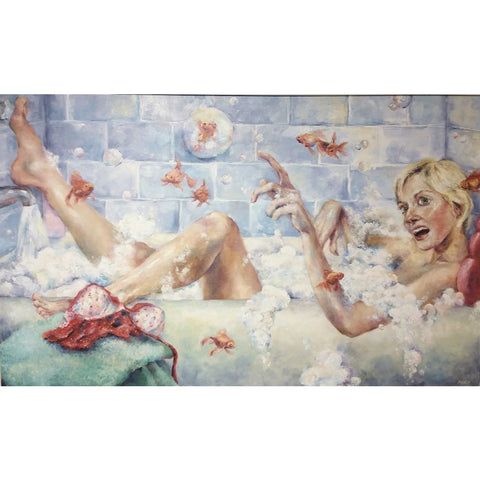 stravitzartgallery.com - Amanda Outcalt - Paintings - Frederic and Friends on a Bathing Adventure