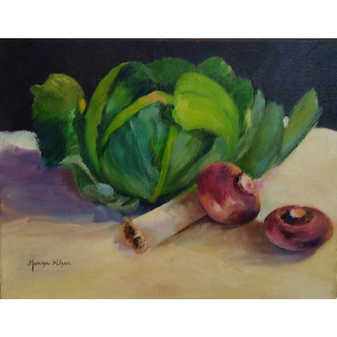 stravitzartgallery.com - Norma Wilson - Paintings - Cabbage, Leeks and Turnip