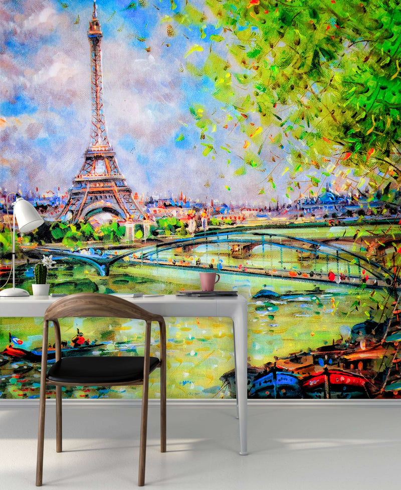 Zidne tapete Colorful painting of Eiffel SW197