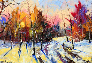Zidne tapete Sunset in winter wood SW189