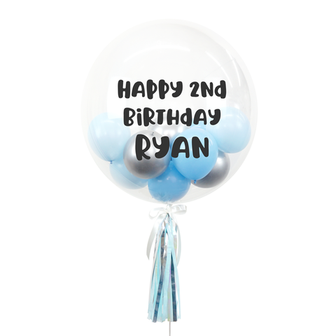"20"" or 24"" Bespoke Bubble Balloon in Blue and Silver colour."
