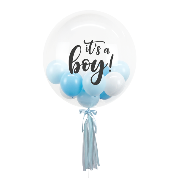 "20"" or 24"" Bespoke Bubble Balloon in Baby Blue colour."