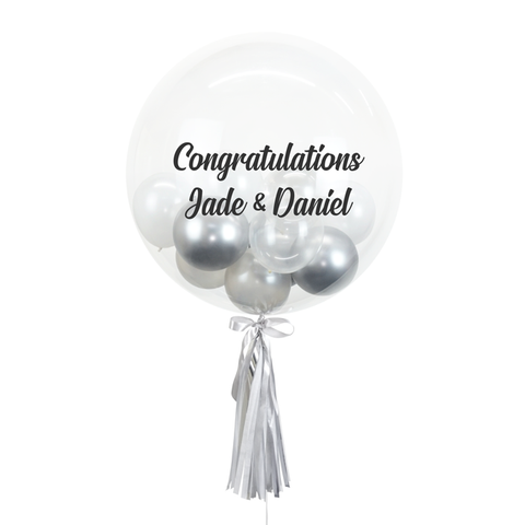 "20"" or 24"" Bespoke Bubble Balloon in Silver White colour."