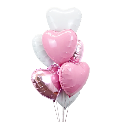 7 Pink, Metallic Pink & White Hearts