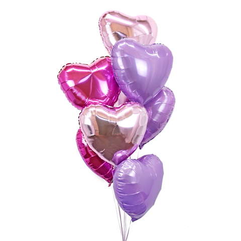 7 Lavender, Hot Pink & Metallic Pink Hearts