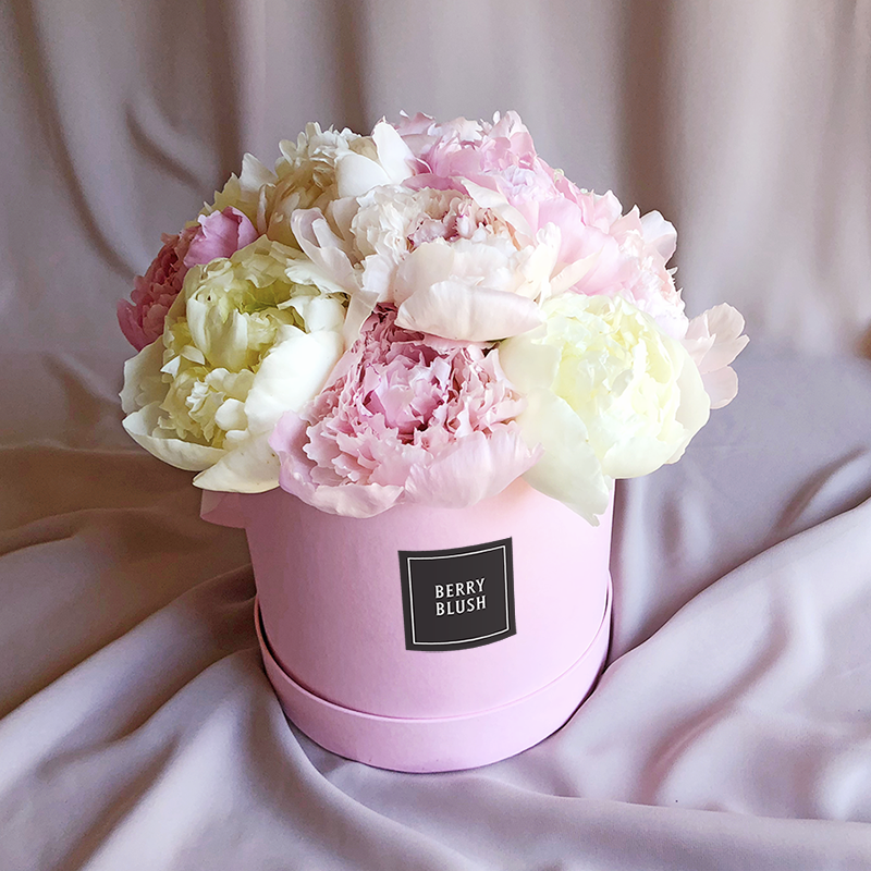 Boxed peonies and bouquet from Berry Blush