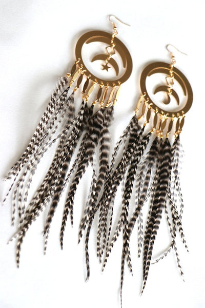 Celestial Feather Hoop Earrings