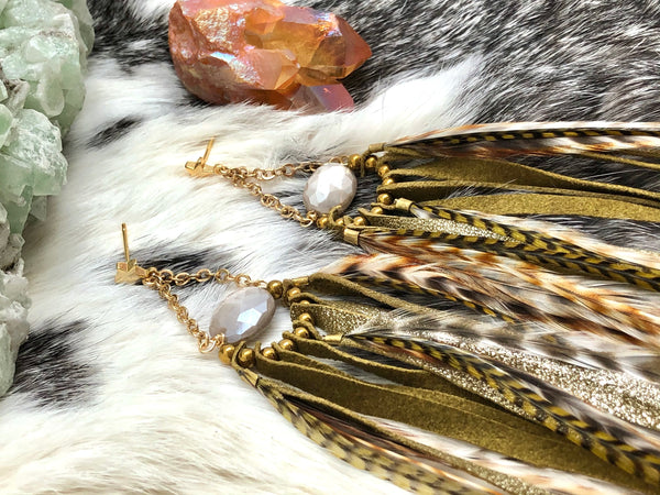 Shimmering Feather Duster Earrings