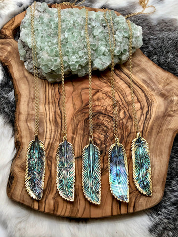 Abalone Feather Pendant Necklace