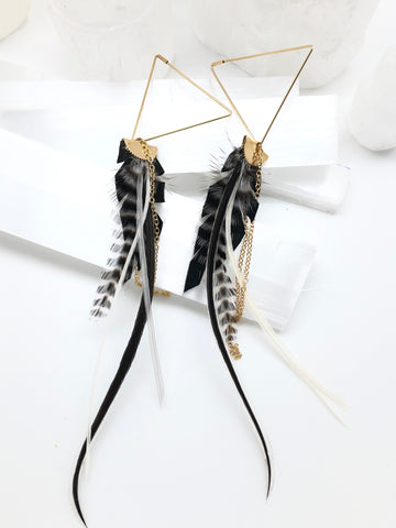 Triangle Feather Threader Earrings