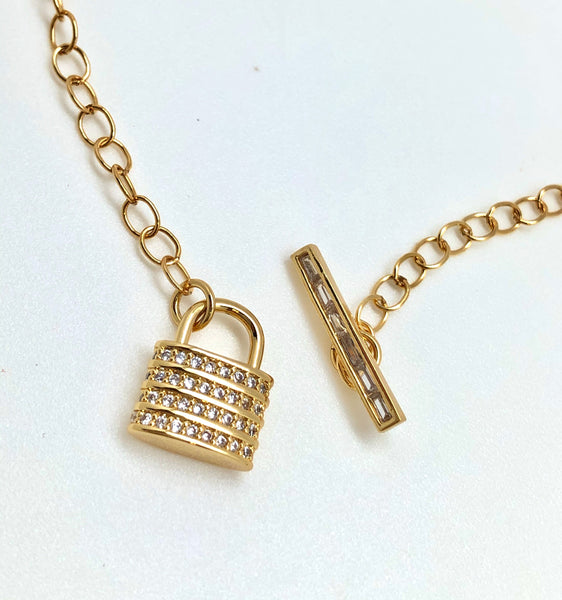 Lover's Lock Toggle Necklace