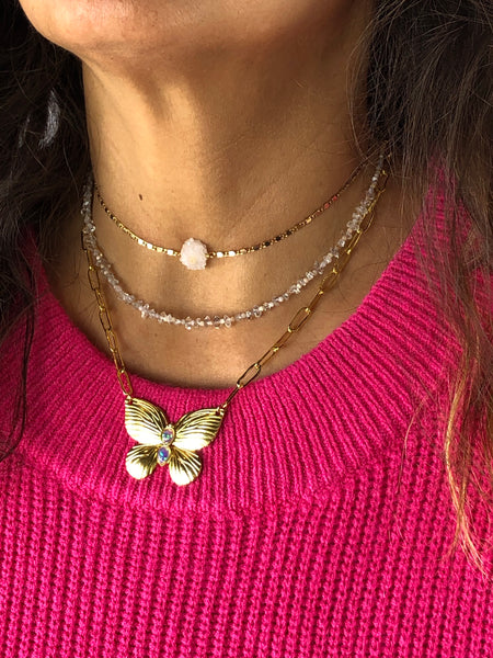 Butterfly Opal Charm Necklace