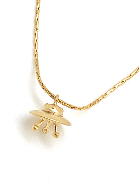 Golden Starship Charm Necklace