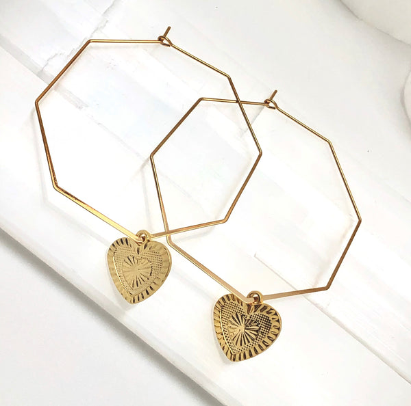Hexagon Hoop Charm Earrings