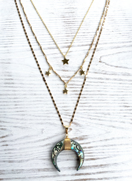 Crescent and Moons Trio Necklace