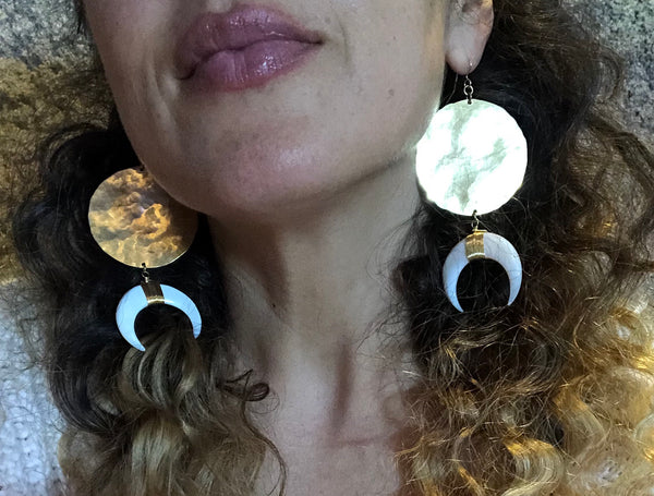 Hammered Circles and Charms Earrings