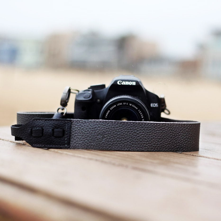 The Crossbody Leather Camera Strap - Steel Grey