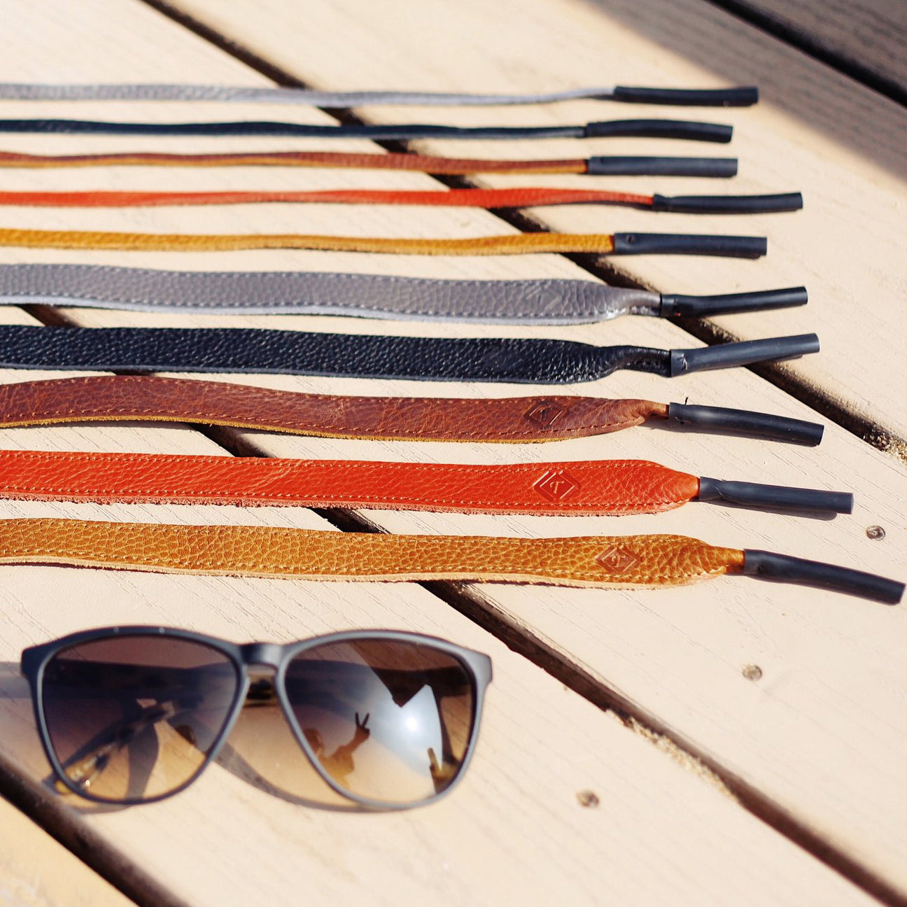 The Slim Leather Sunglass Strap - Red