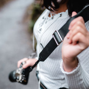 The Overlap Leather Camera Strap - Black
