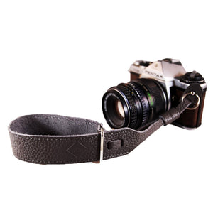 Leather Wrist Camera Strap -  Steel Grey