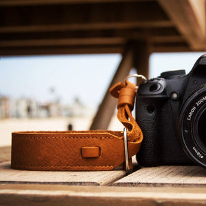 Leather Wrist Camera Strap - Tan