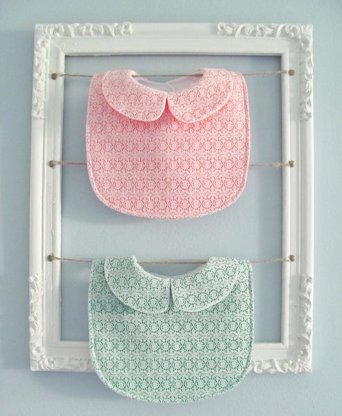 Collared Lace baby bib bundle - set of 2