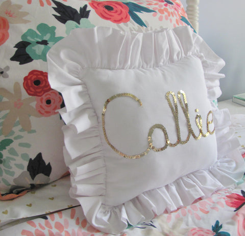 Gold sequin ruffle pillow - custom name