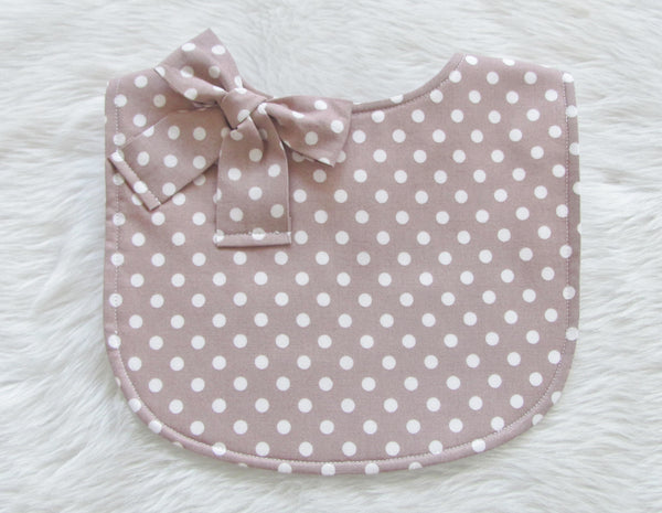 The Layla Bib: Polka dot Latte