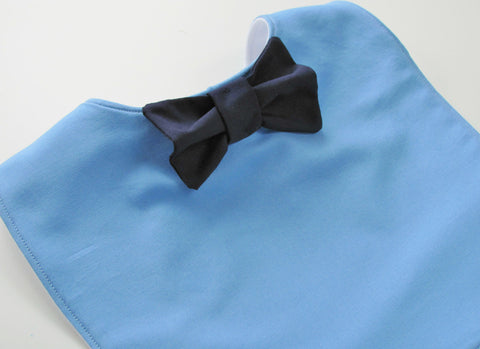 Bow tie bib: cornflower blue & navy