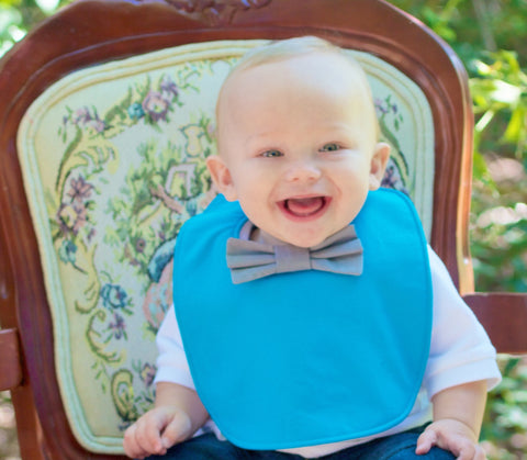 The bow tie bib: Teal & grey