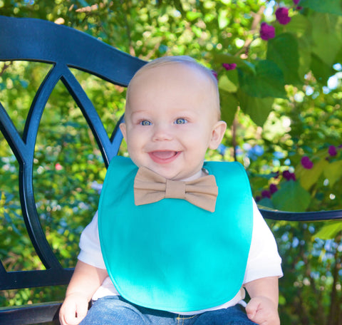 The bow tie bib: Aqua green & tan