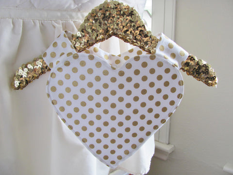 The Sweetheart Bib: Gold polka dots