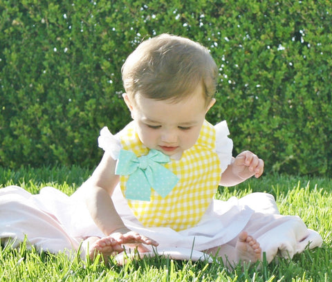 Yellow Gingham Sweetheart Bib