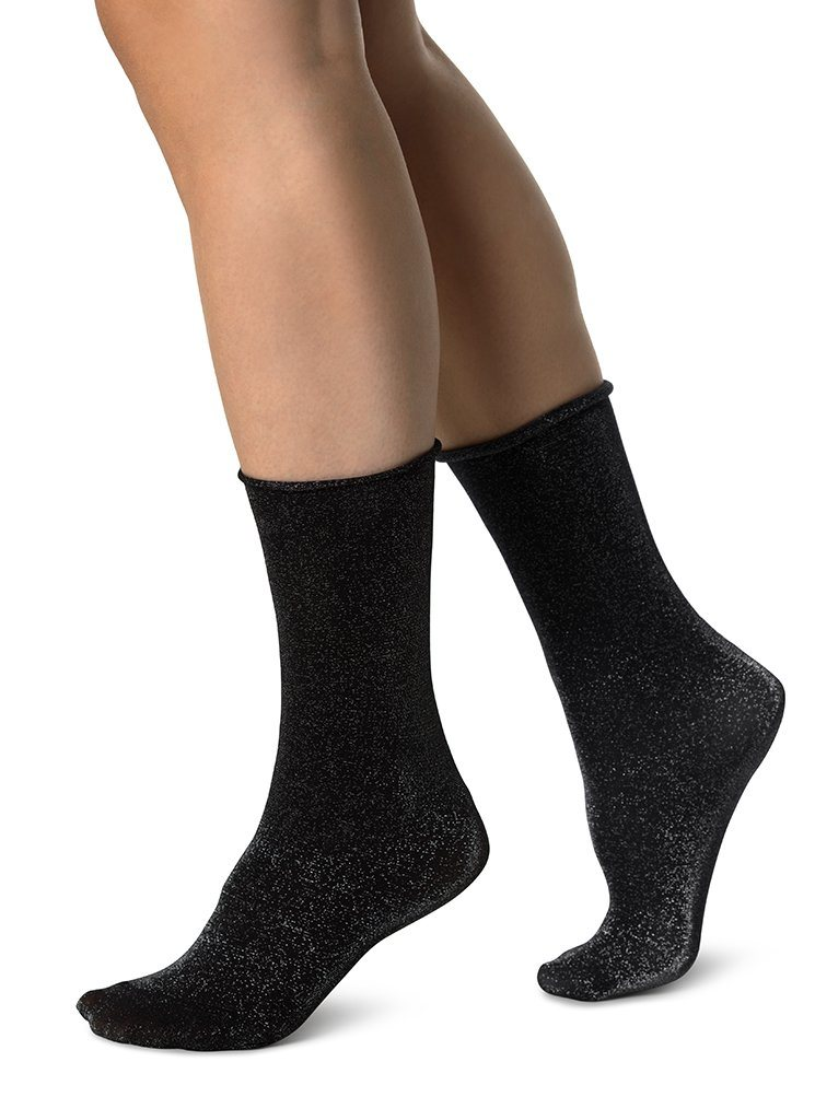 LISA LUREX SOCKS SILVER Socks Swedish Stockings ONE SIZE