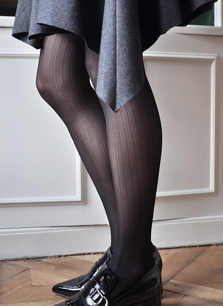 NINA FISHBONE TIGHTS BLACK Patterned Stockings Swedish Stockings