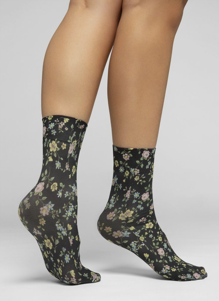 ADA FLOWER SOCKS BLACK/MULTI Socks Swedish Stockings