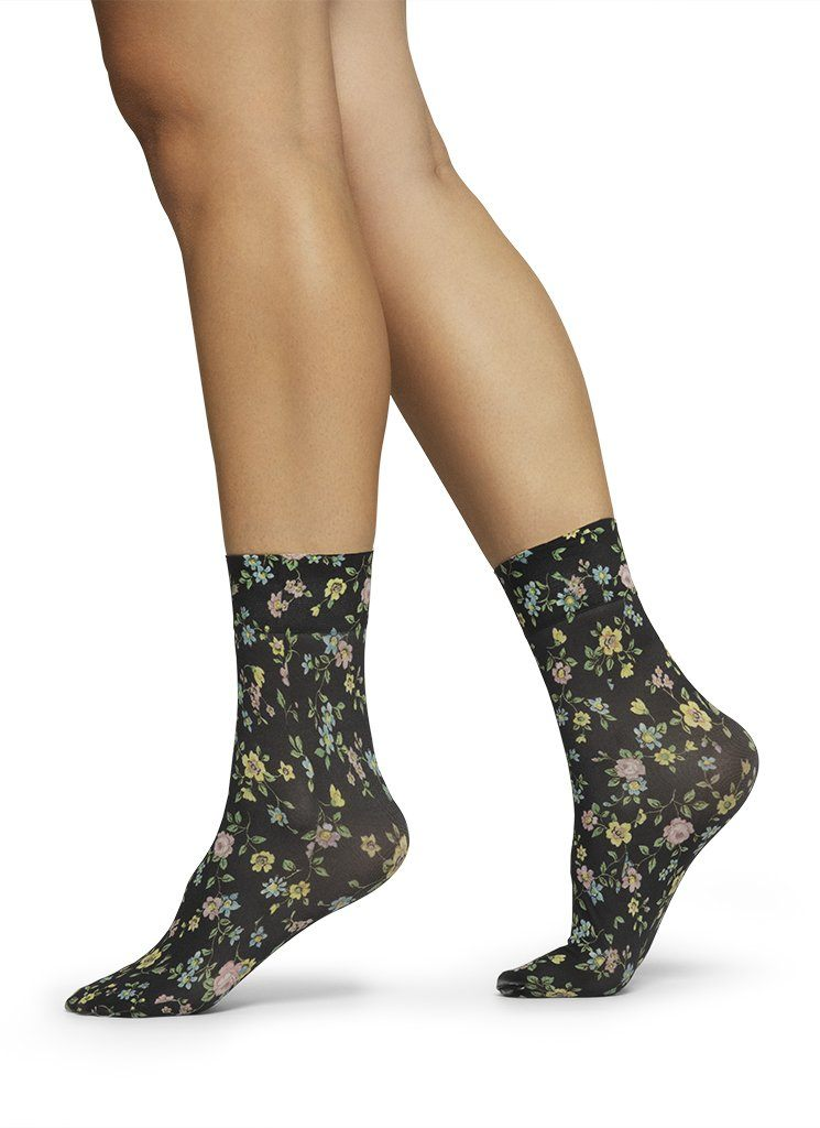 ADA FLOWER SOCKS BLACK/MULTI Socks Swedish Stockings ONE SIZE