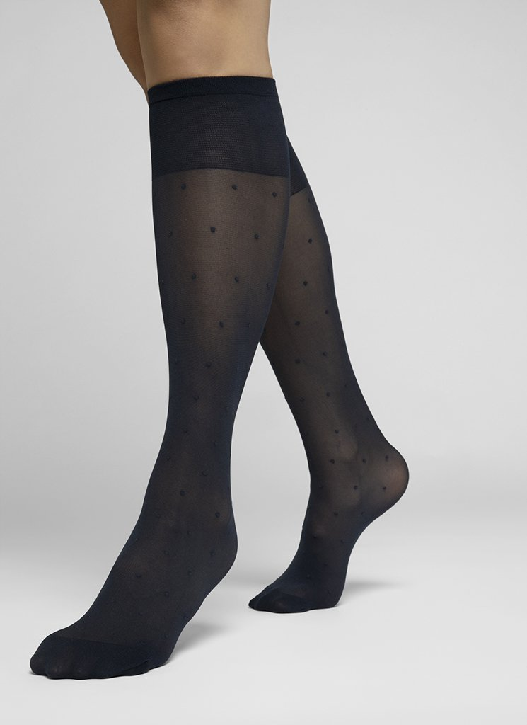 DORIS DOTS KNEE-HIGHS BLACK Knee-highs Swedish Stockings